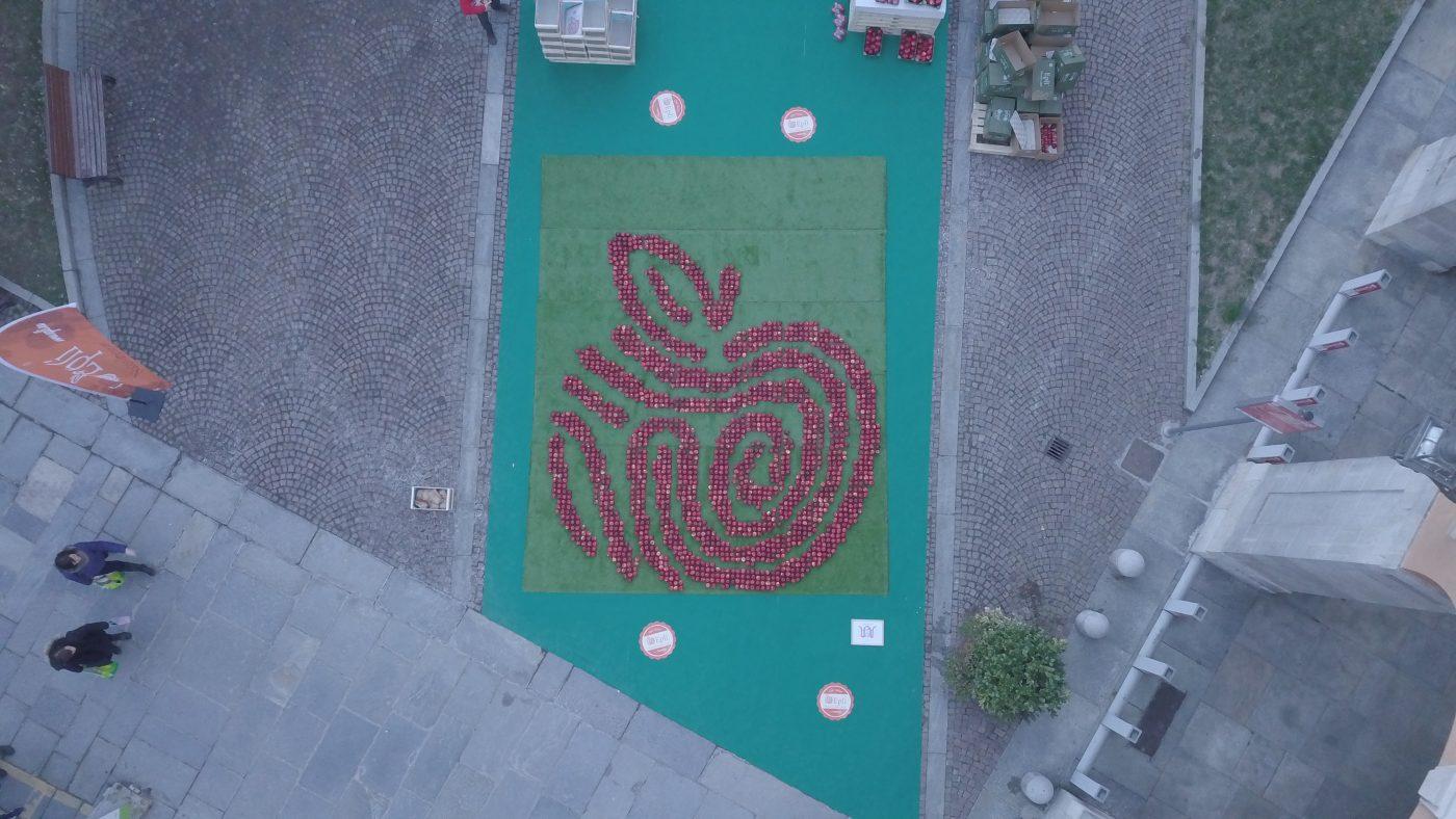 Èplì diventa un mosaico: logo gigante a Cuneo